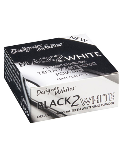 black-2-white teeth whitening organic charcoal powder in mint flavour