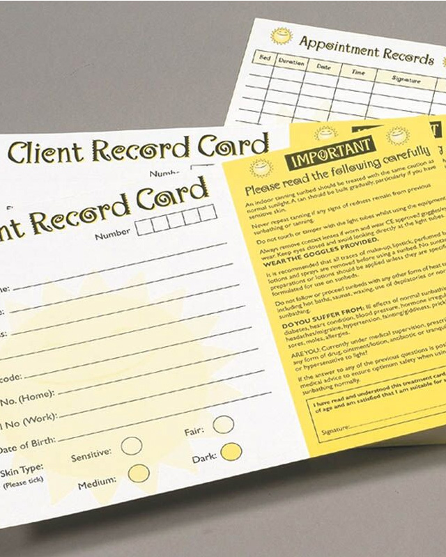 client-record cards for tanning salons