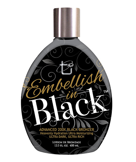 embellish in black advanced bronzer tanning lotion