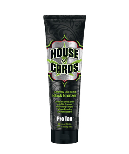 house-of-cards very ultra dark black bronzer tanning lotion with hemp from pro tan