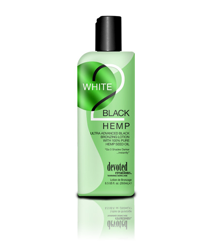 white to black hemp ultra fast tanning lotion from devoted creations