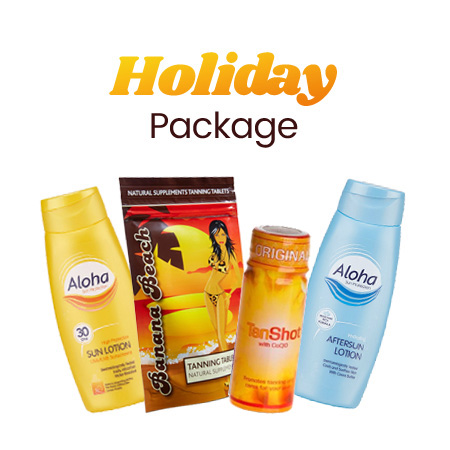 tanning lotion holiday package with aloha banana beach sun lotion aftersun and tanshot