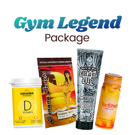 gym legend package with vitamin d banana beach man up tanning lotion and tan shot