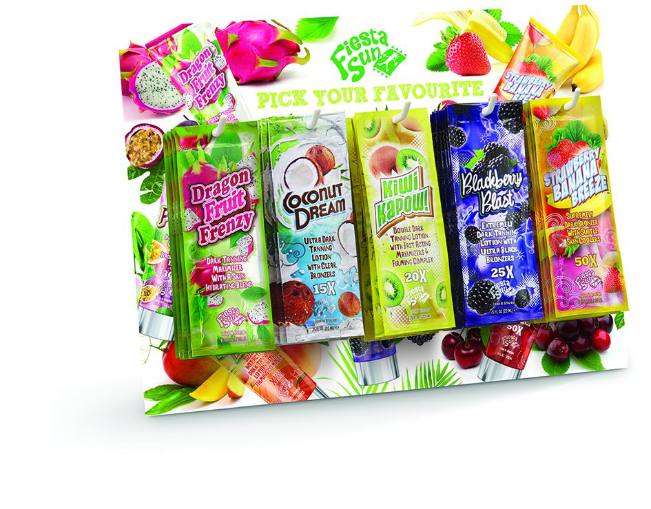 tanning lotion fiesta sun fruity sensation sachet deal counter top for salons